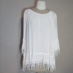 White Krazy Kat long sleeve blouse